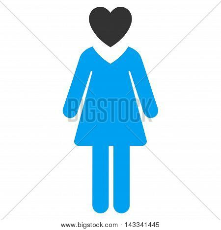 Passion Woman icon. Vector style is bicolor flat iconic symbol with rounded angles, blue and gray colors, white background.