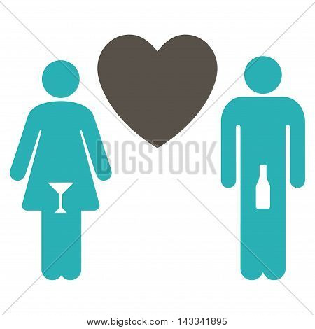 Drunky Love Pair icon. Vector style is bicolor flat iconic symbol with rounded angles, grey and cyan colors, white background.