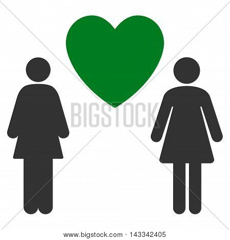 Lesbi Love Pair icon. Vector style is bicolor flat iconic symbol with rounded angles, green and gray colors, white background.