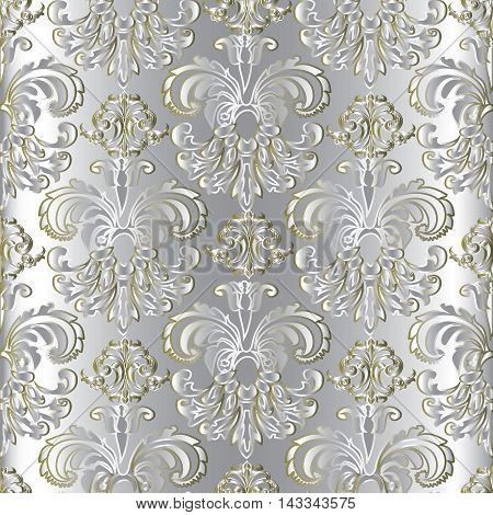 Light white silver modern seamless floral vector pattern background with  vintage  ornaments. Elegant luxury 3d floral elements with shadow & highlights. Decorative  design. Stylish texture