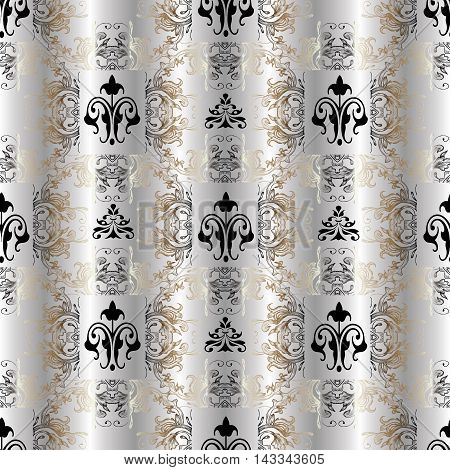 Light damask stylish floral vector seamless pattern background with vintage beautiful silver gold and black ornaments. Luxury illustration and royal 3d decor elements with shadow and highlights. Endless elegant  texture.