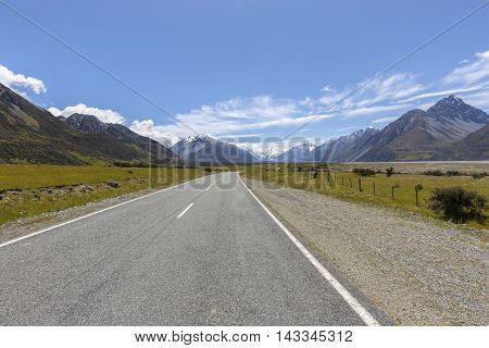 Mount Cook viewpoint and the road leading to Mount Cook Village, New Zealand
