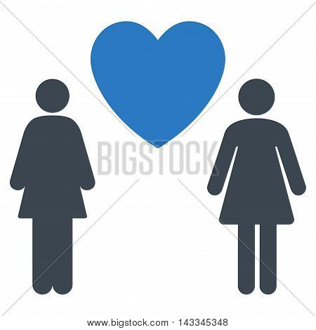 Lesbi Love Pair icon. Vector style is bicolor flat iconic symbol with rounded angles, smooth blue colors, white background.