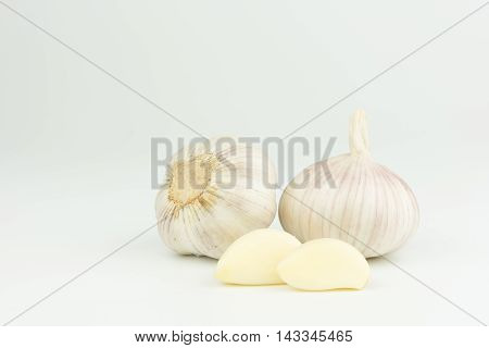 Garlic isolated on white background healthy closeup