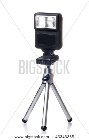 Small Portable Flash For Camera Isolated Over White Background