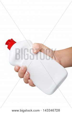 Hand With A Detergent  Plastic Bottle Isolated On White Backgrou