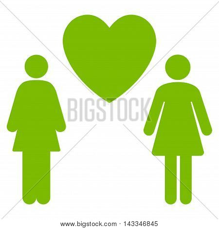 Lesbi Love Pair icon. Vector style is flat iconic symbol with rounded angles, eco green color, white background.