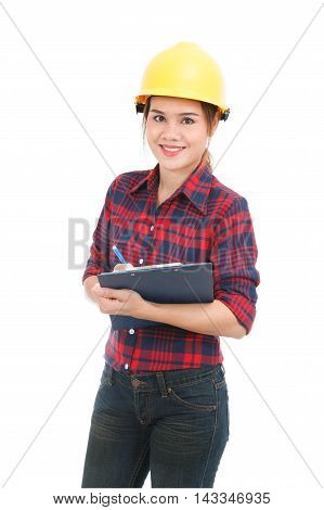 Asian Engineer Woman With Clipboard Isolated On White Background