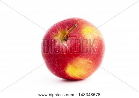 Red And Yellow Apple With A Drop A Shadow In White Background