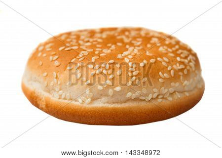 Bun With Sesame Seeds For A Hamburger Isolated On White Backgrou