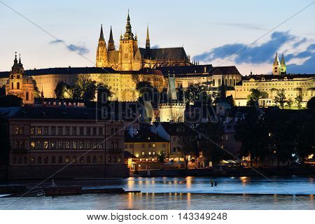 PRAGUE CZECH REPUBLIC - AUGUST 08 2016: Night scene of old town and Prague Castle on August 08 2016 in Prague. Prague is the capital and largest city of the Czech Republic