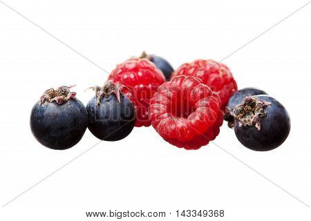 Fresh Tasty Red Raspberry And Black Currant Isolated On White Ba