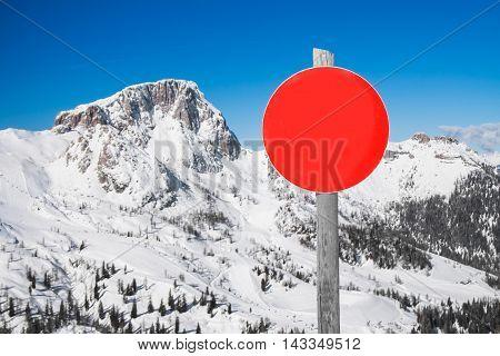 Ski slope sign in mountain ski resort in the Alps in Austria.