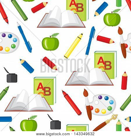 Vector illustrations of back to school pattern seamless
