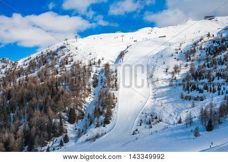 Mountain ski resort Kals-Matrei, Austria - winter sport and beautiful nature.