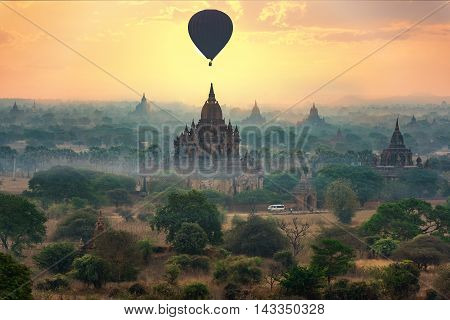 Myanmar Bagan historical site on magical sunrise with beautiful sky and Buddhist temples