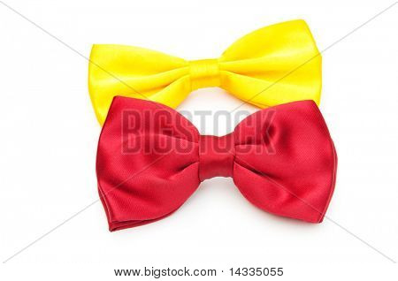 Red bow tie isolated on the white
