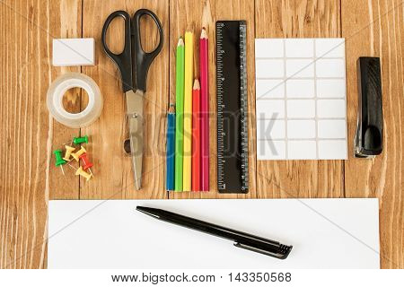 Desk with stationery. Back to school and back to work concepts.