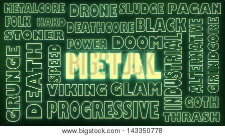 Metal music genres cloud list. Neon shine words. 3D rendering