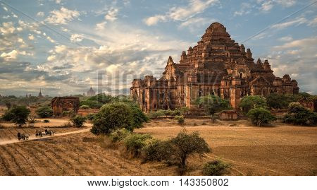 Pagoda landscape in the plain of Bagan, Myanmar