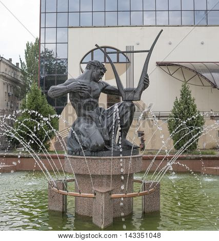Rostov-on-Don Russia -August 142016: Orpheus sculpture in the fountain near the theater Philharmonic. 1935