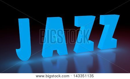 Jazz music genre neon shine word on reflected surface. 3D rendering