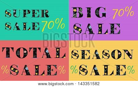 Cards with inscriptions for retail. Season Sale. Big sale. Super sale. Total sale. Artistic floral font. Black letters with watercolor flowers. Gray background. Vector Illustration