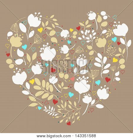 White floral heart. Vintage greeting card. White and yellow silhouettes of graceful flowers and plants. Red blue and yellow small hearts. Brown background.
