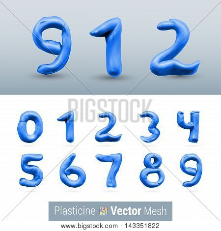 Numeral Dark Blue Color Isolated on Background Set