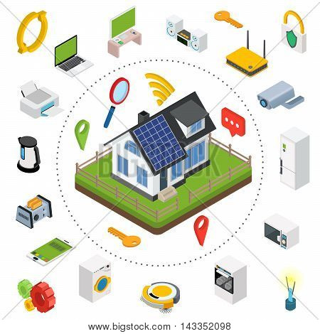 Smart home. Isometric design style vector illustration concept of smart house technology system with centralized control.