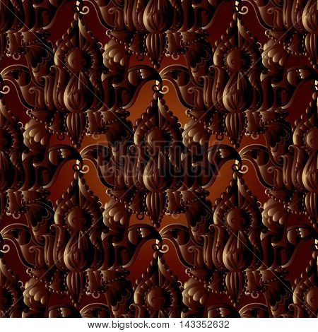 Interesting dark floral vector seamless pattern background with vintage flowers and decorative volumetric ornaments.Rich decor in Indian style.3d elegant elements with shadow and highlights