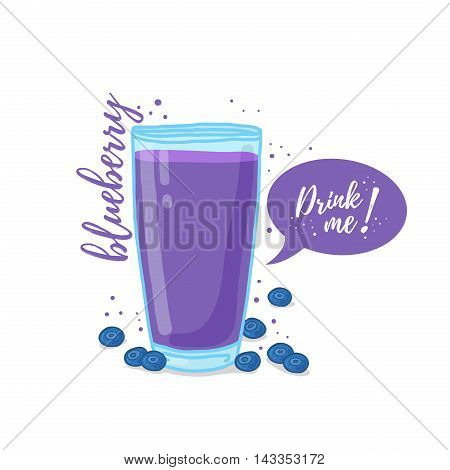 Design Template banner, poster, icons blueberries smoothies. Illustration of blueberries juice Drink me. Blueberries cocktail with berries. Vector