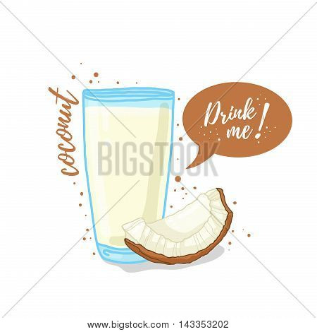 Design Template banner, poster, icons coconut smoothies. Illustration of coconut juice Drink me. Coconut milk in glass cup. Vector illustration
