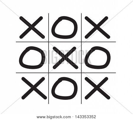 Illustration of tic tac toe game isolated on white background