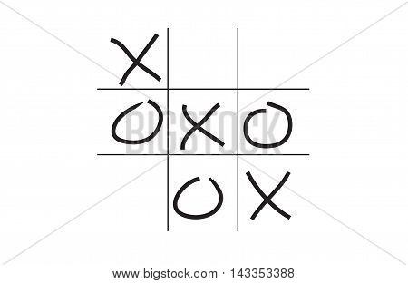 Illustration of hand drawn tic-tac-toe game isolated on white background