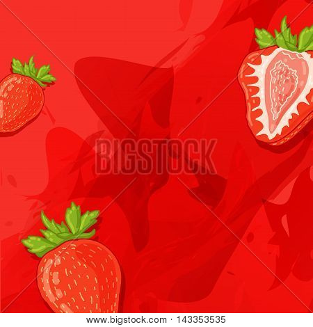 Template design banner background with strawberry berry. The back with a slice of strawberry and a watercolor texture. Concept for berry drinks and juices. Place for your text. Vector illustration