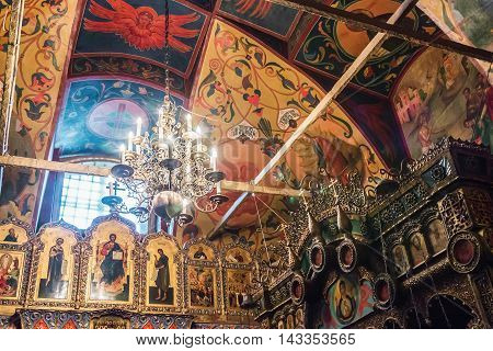 Moscow, Russia - August 7, 2016: iconostasis and paintings on the walls of St. Basil's Cathedral in Moscow. Russia