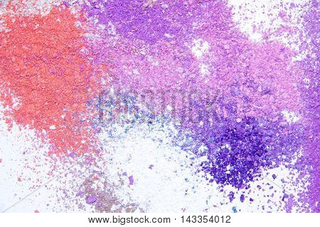 Eyeshadow Cosmetic Powder Scattered Copy Space. various set isolated on white background. The concept of fashion and beauty industry. Abstract place text the texture mineral makeup