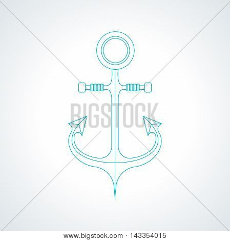 Simple nautical anchor isolated on white background. Modern thin line armature icon illustration.