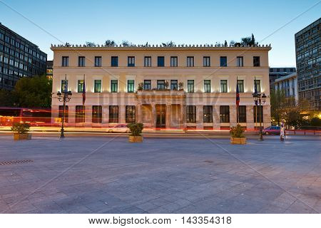 ATHENS, GREECE - AUGUST 18, 2016: Building of the city hall of Athens in Kotzia square on August 18, 2016.