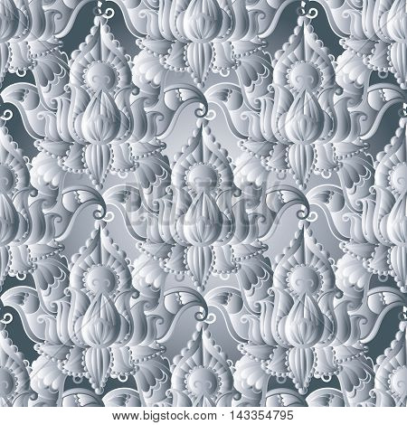 Light Interesting floral vector seamless pattern background with vintage volumetric flowers and decorative volumetric ornaments.Rich decor in Indian style.3d elegant elements with shadow and highlights