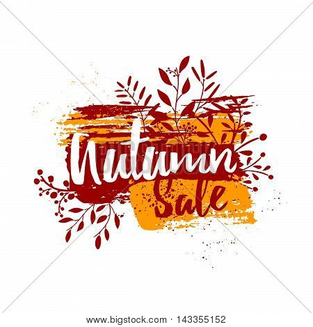 Template design of logos, stamps, badges, labels silhouette Autumn sale. Ink orange, red grunge texture. Autumn sale on colored ink stain with herb, leaf decoration. November stamp discount.