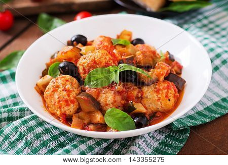 Juicy Meatballs Of Turkey Meat With Vegetables (zucchini, Eggplant, Olive, Tomato)