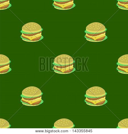 Hamburger Seamless Pattern on Green Background. Set of Sandwiches. Unhealthy Fast Food