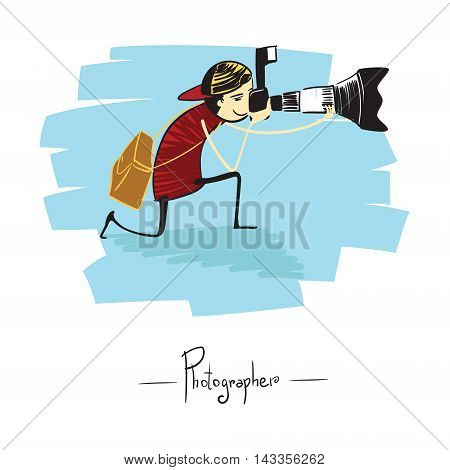 Photographer with equipment: Big zoom in hand