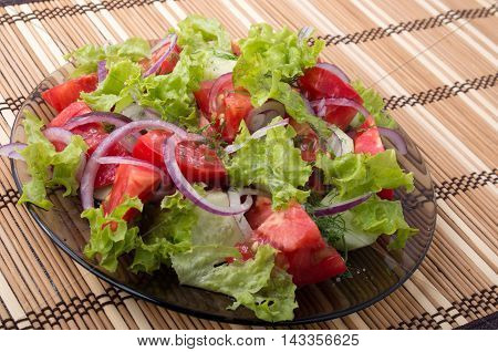 View Angle On A Fragment Of Vegetarian Salad From Fresh Vegetables