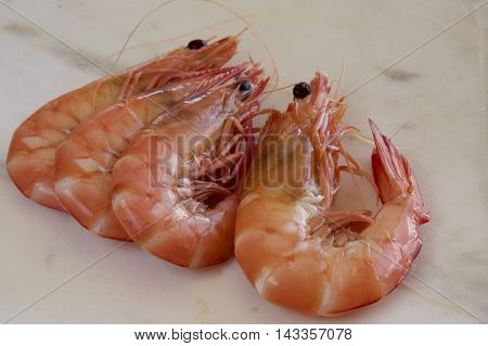Australian cooked king prawns ready for a meal.