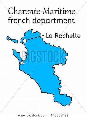 Charente-Maritime french department map on white in vector