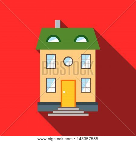 Two-storey house with green roof icon in flat style with long shadow