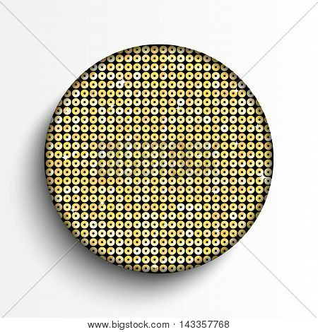 Vector. Gold paillette circle button on white background.